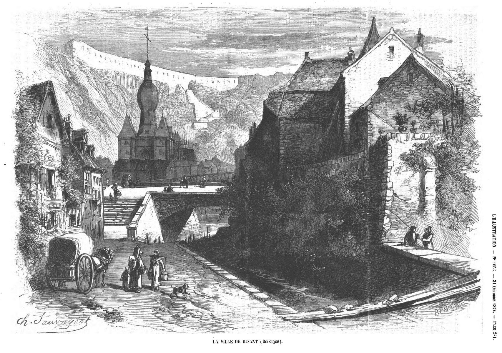 La ville de Dinant (Belgique). Gravure 1874