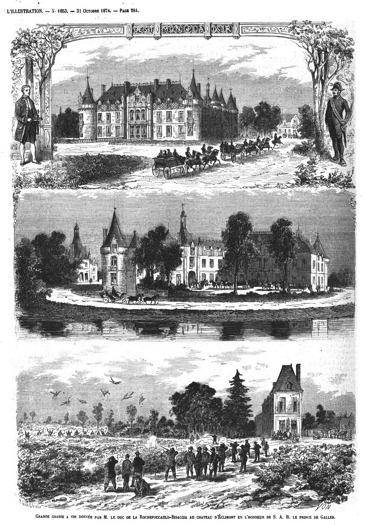 Grande chasse à tir donnée par M. le duc de la Rochefoucauld-Bisaccia au château d'Eclimont en l'honneur de S. A. R. le prince de Galles. Gravure 1874