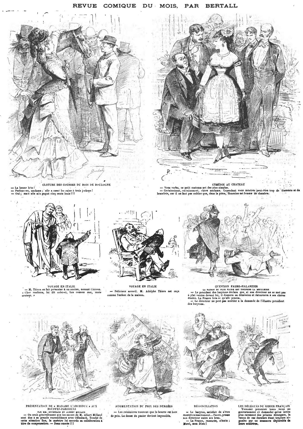 Revue comique du mois, par Bertall (9 sujets). Gravure 1874