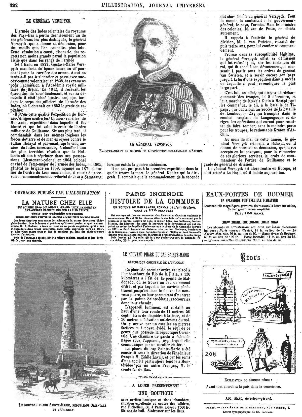 Le général Verspyck, ex-commandant en second de l'expédition hollandaise d'Atchin. Gravure 1874 — Le nouveau phare Sainte-Marie, république Orientale de l'Uruguay. Gravure 1874