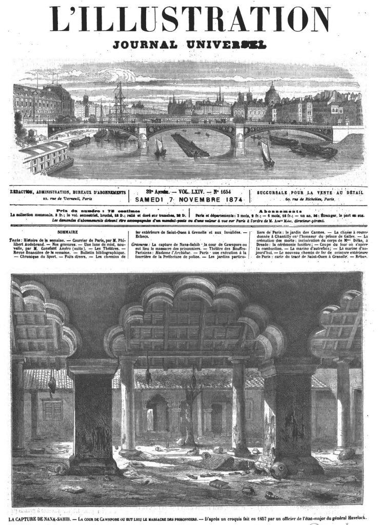 La capture de Nana-Sahib la cour de Cawnpore ou eut lieu le massacre des prisonniers. Gravure 1874