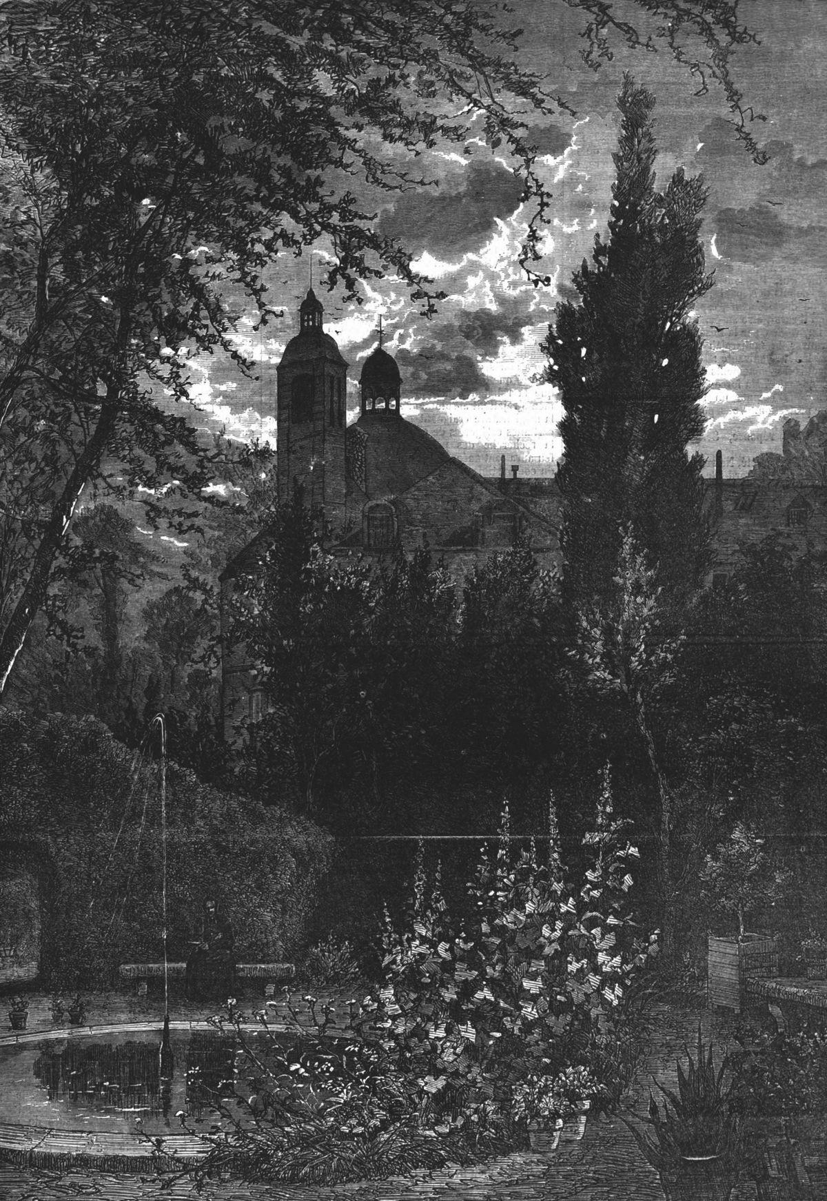 Les jardins particuliers de Paris : le jardin des Carmes. Gravure 1874