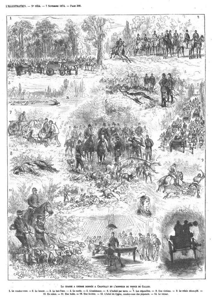 La chasse à courre donnée à Chantilly en l'honneur du prince de Galles. Gravure 1874