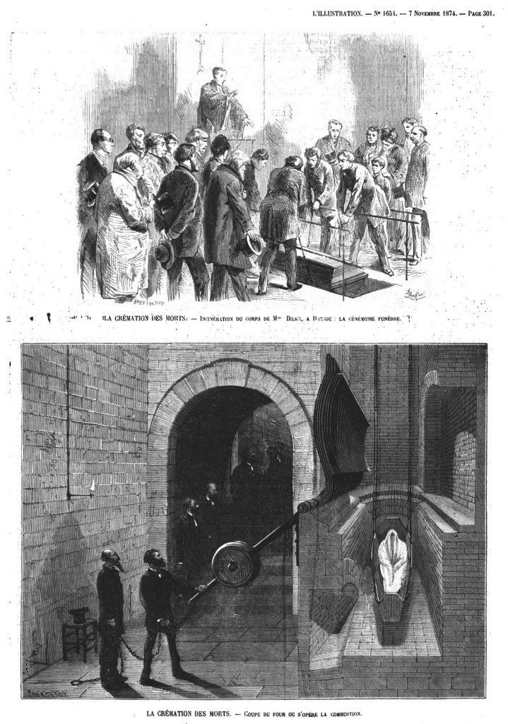 La crémation des morts ; incinération du corps de M. Dilke, à Dresde: la cérémonie funèbre. Gravure 1874