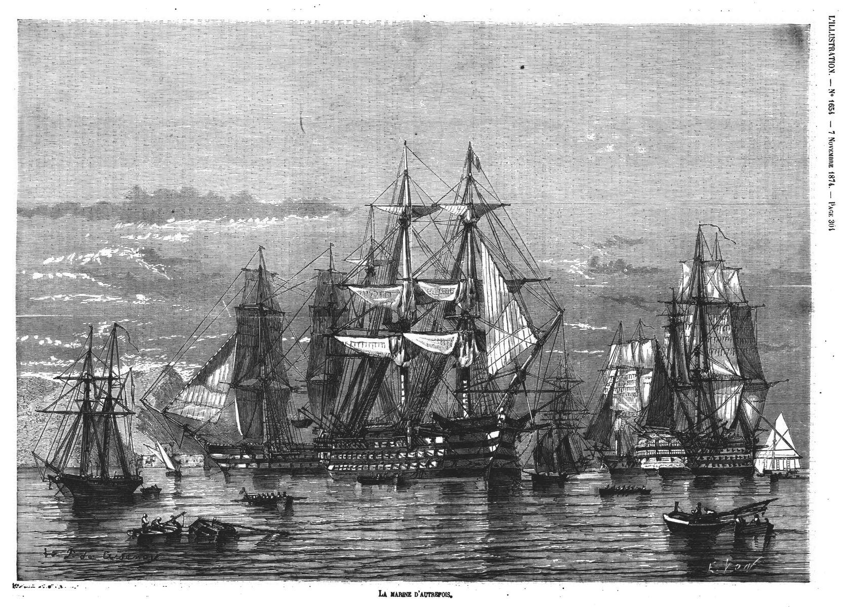 La marine d'autrefois. Gravure 1874