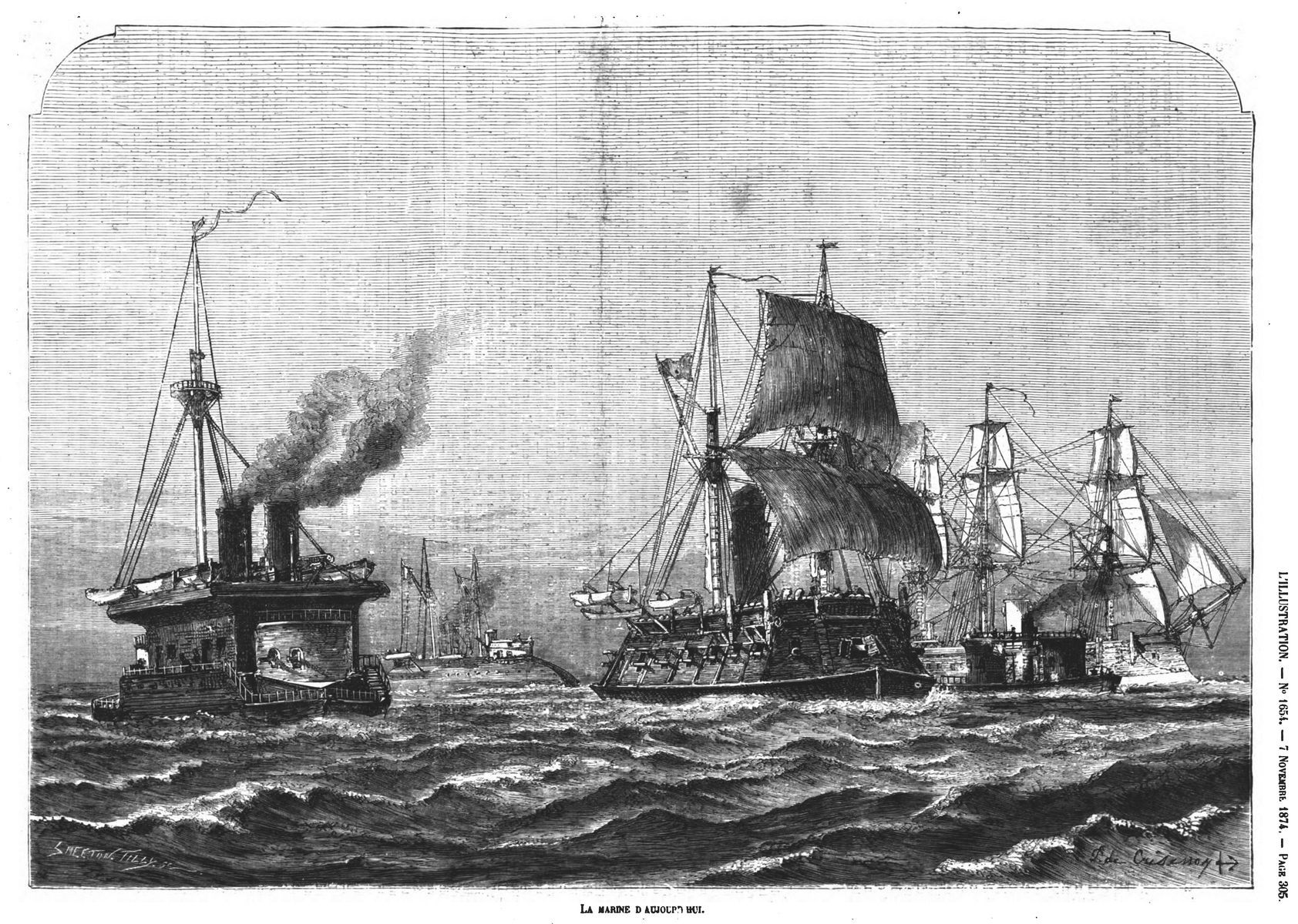 La marine d'aujourd'hui. Gravure 1874