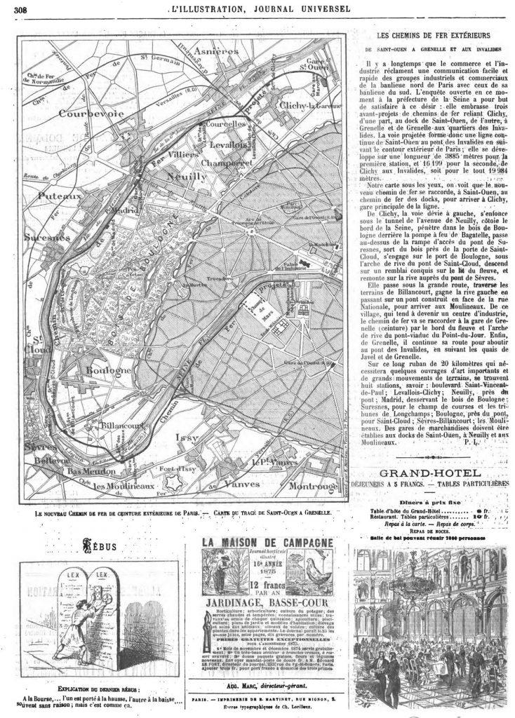 Le nouveau chemin de fer de ceinture extérieure de Paris : carte du tracé de Saint-Ouen à Grenelle. Gravure 1874