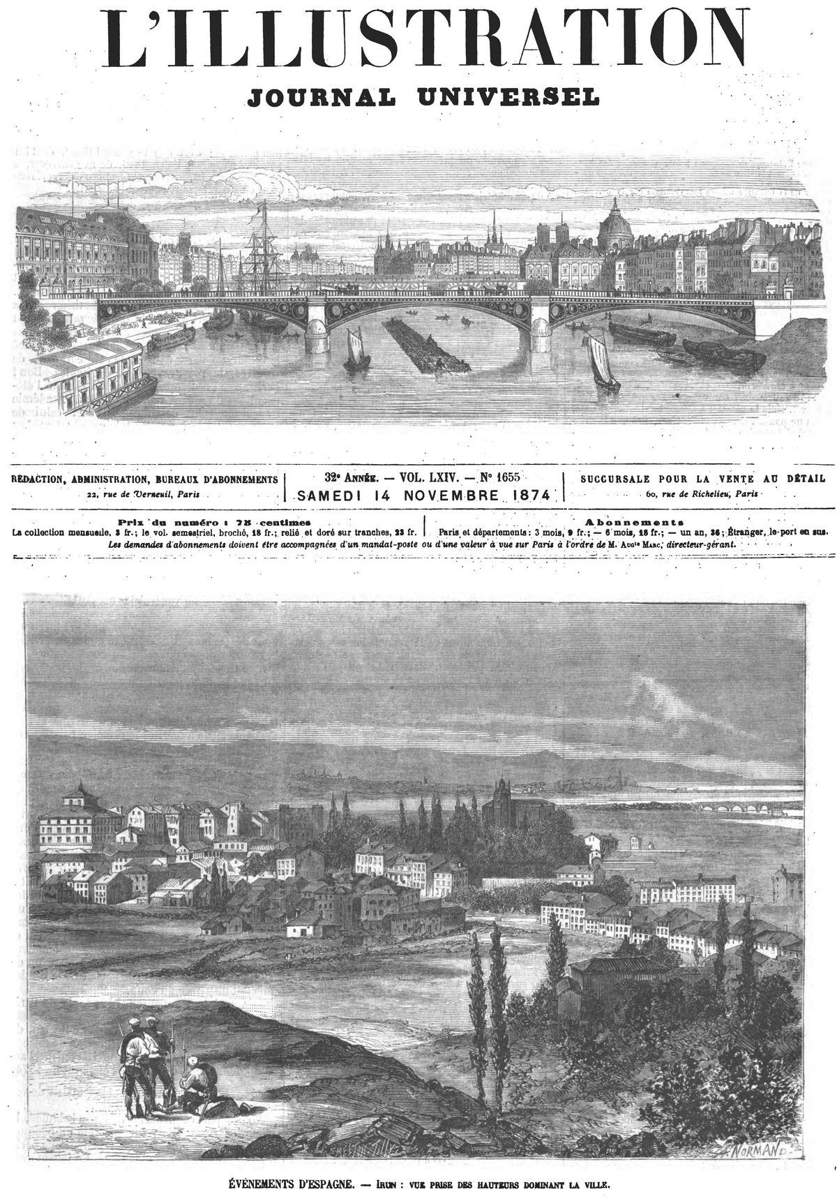 Événements d'Espagne : Irun : vue prise des hauteurs dominant la ville. Gravures 1874