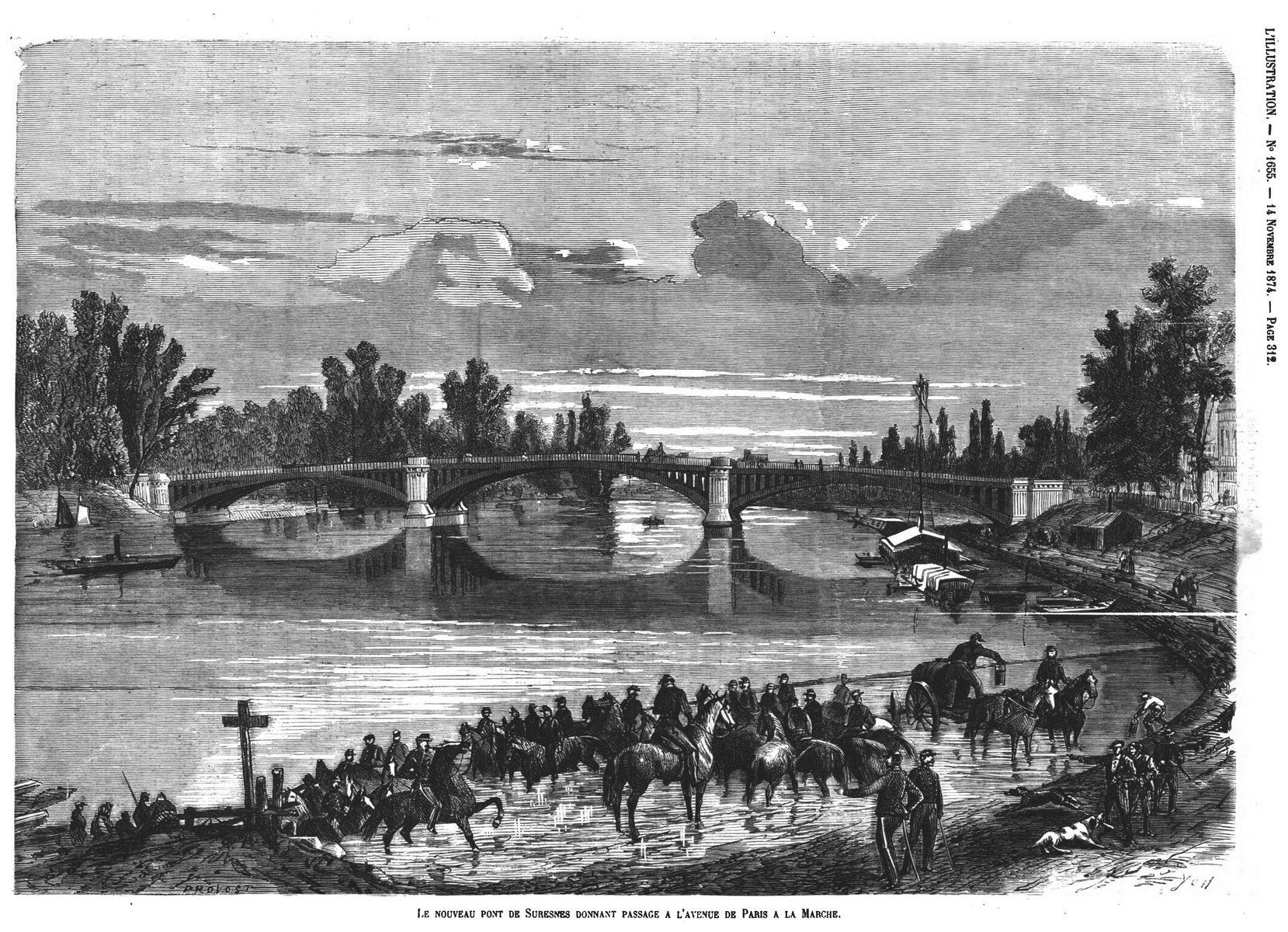 Le nouveau pont de Suresnes donnant passage à l'avenue de Paris à la Marche. Gravures 1874
