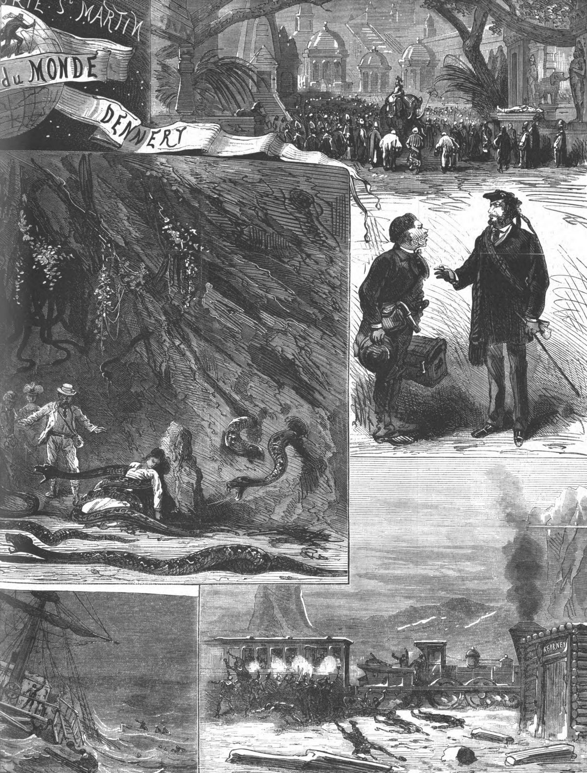 Le tour du monde en 80 jours. Gravures 1874