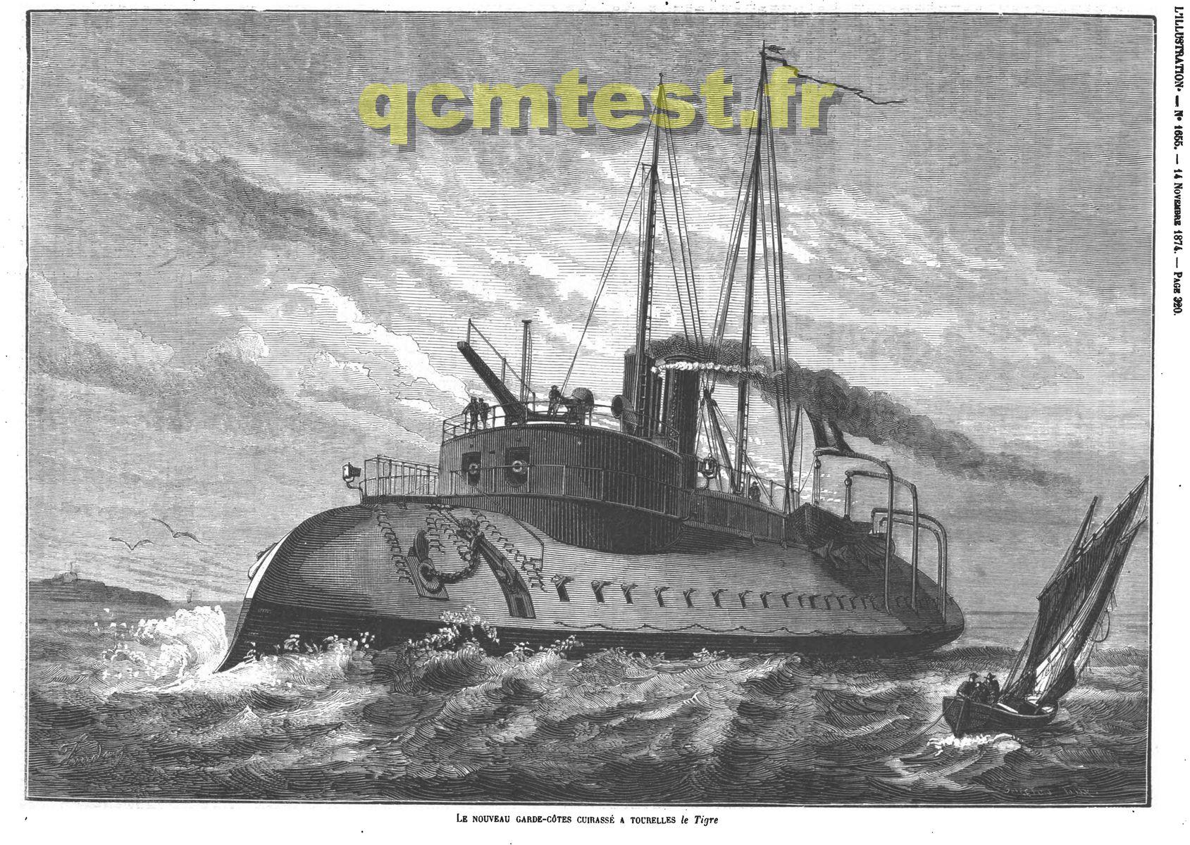 Le nouveau garde-côtes cuirassé à tourelles le Tigre. Gravures 1874