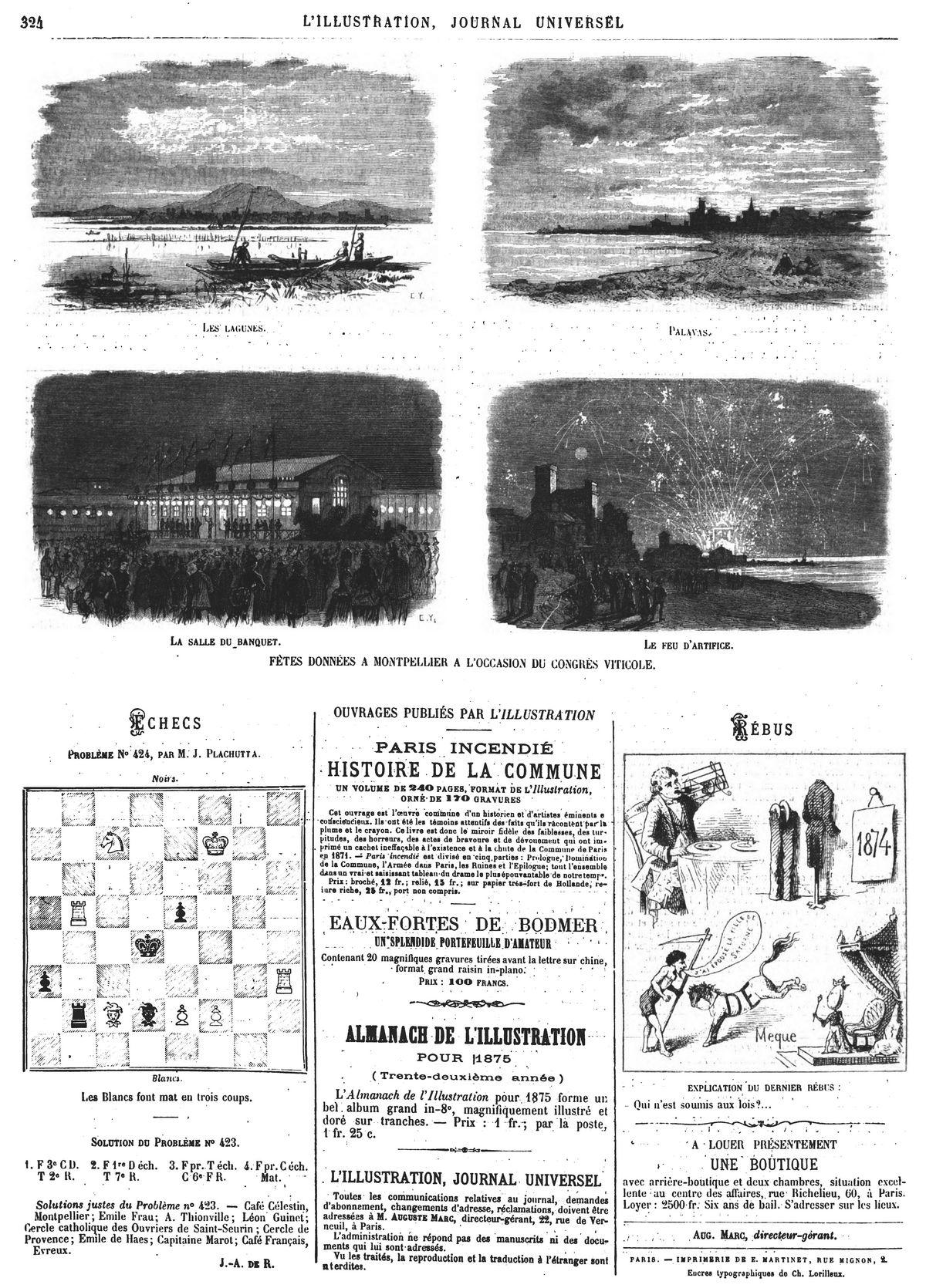 Fêtes données à Montpellier à l'occasion du Congrès viticole (4 gravures). Gravures 1874