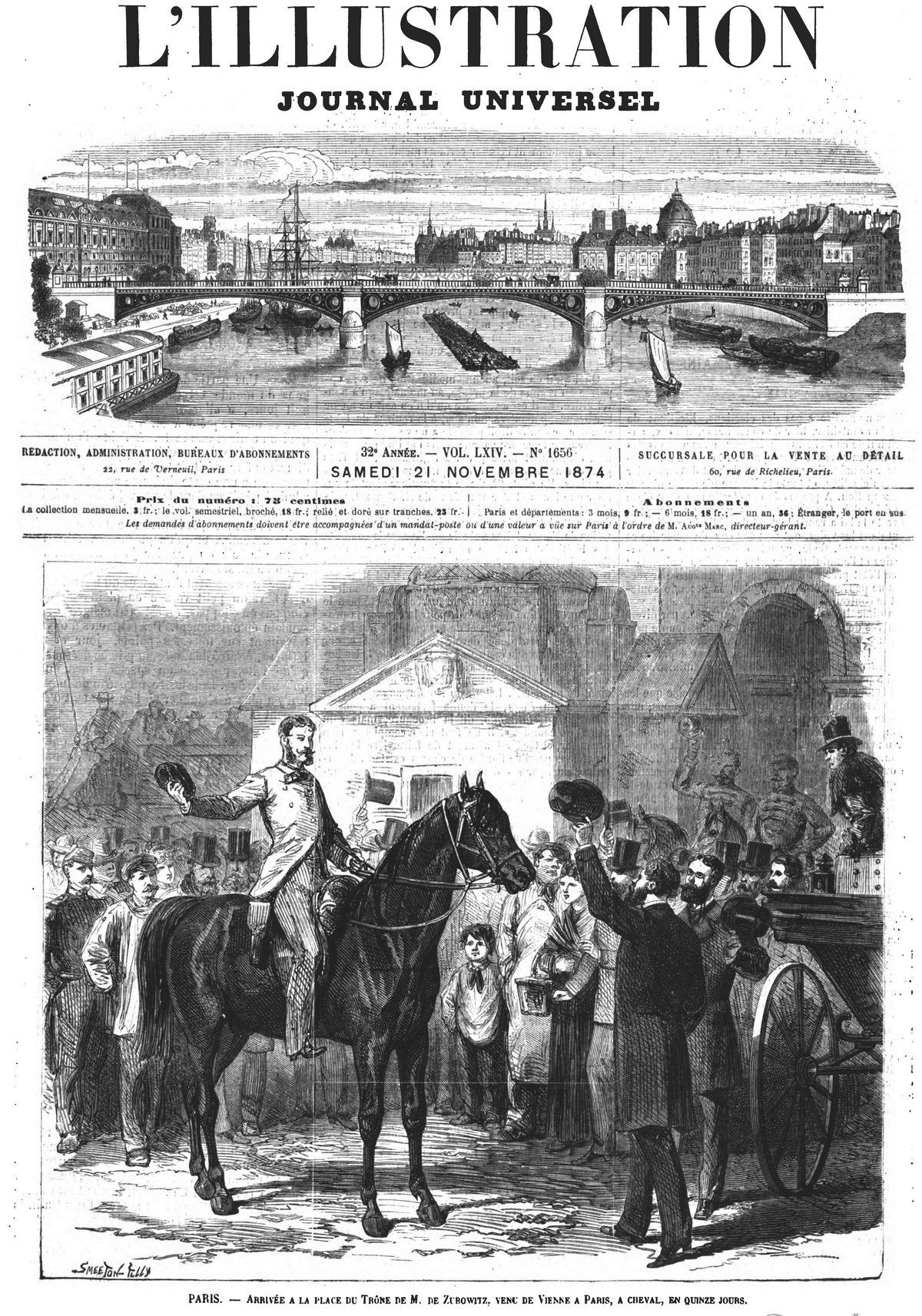 Paris : arrivée à la place du Trône de M. de Zubowitz, venu de Vienne, à cheval, en quinze jours. Gravure 1874