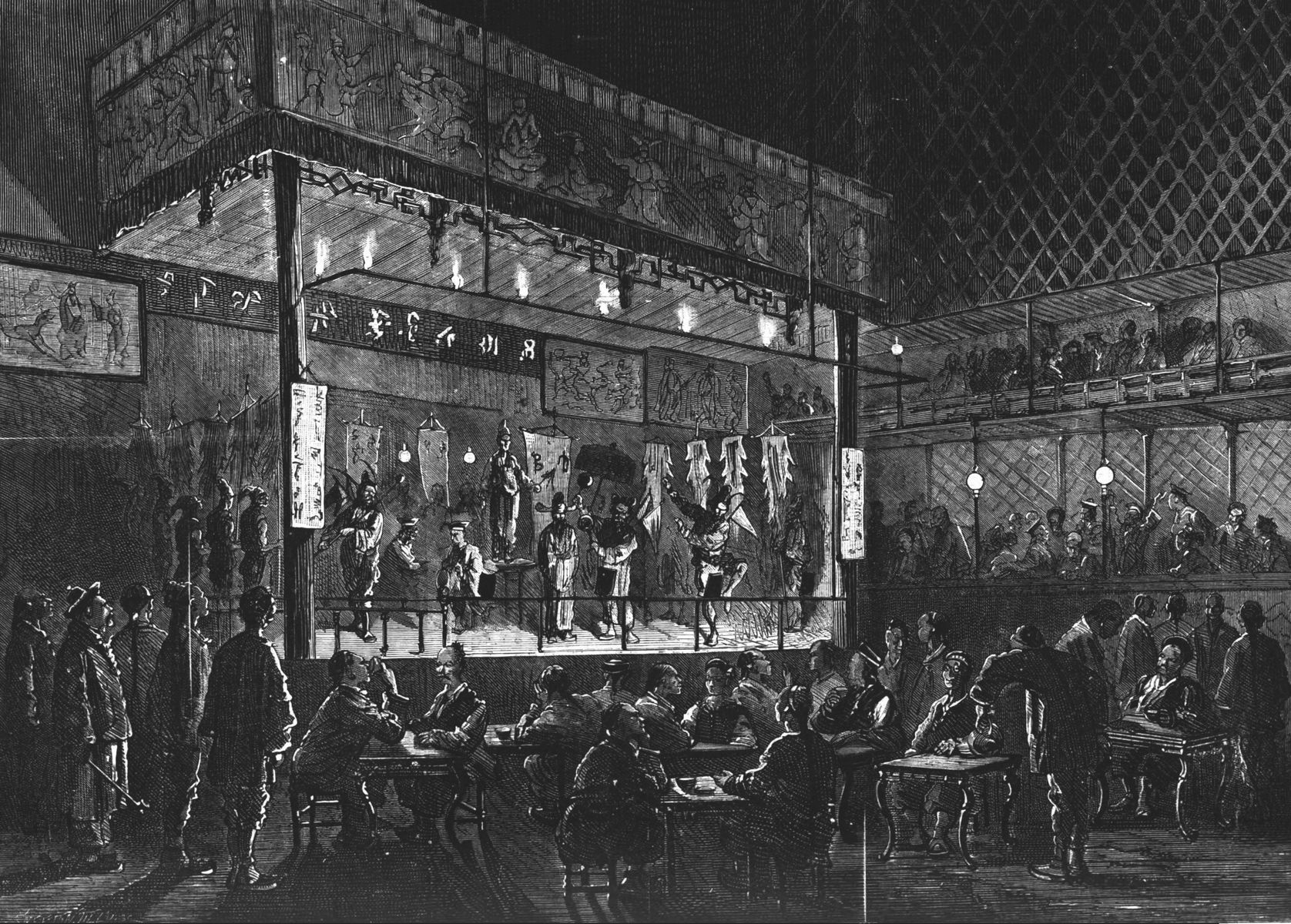 Un théâtre chinois à Shang-Haï. Gravure 1874