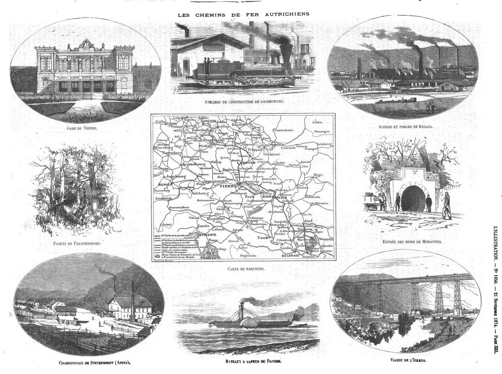Les chemins de fer autrichiens (9 gravures). Gravure 1874