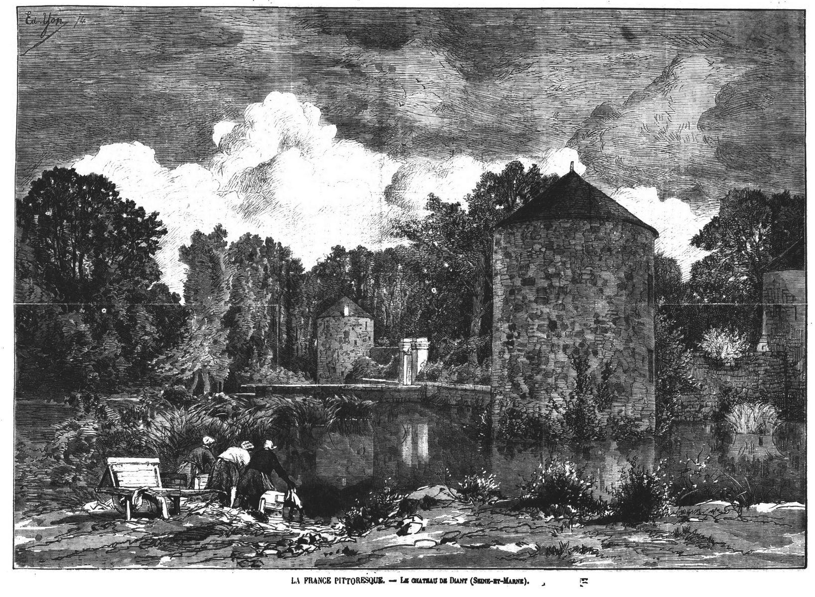 La France pittoresque : le château de Diant (Seine-et-Marne). Gravure 1874