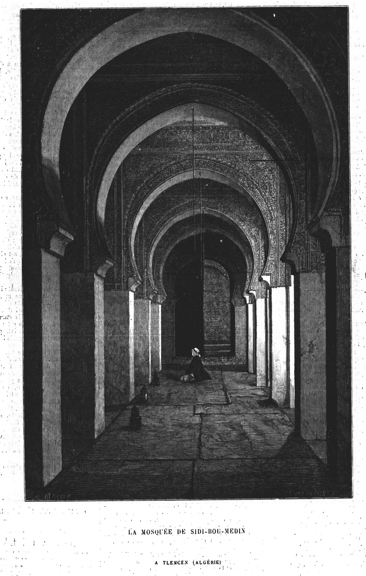 La mosquée de Sidi-Bou-Medin, à Tlemcen (Algérie). Gravure 1874