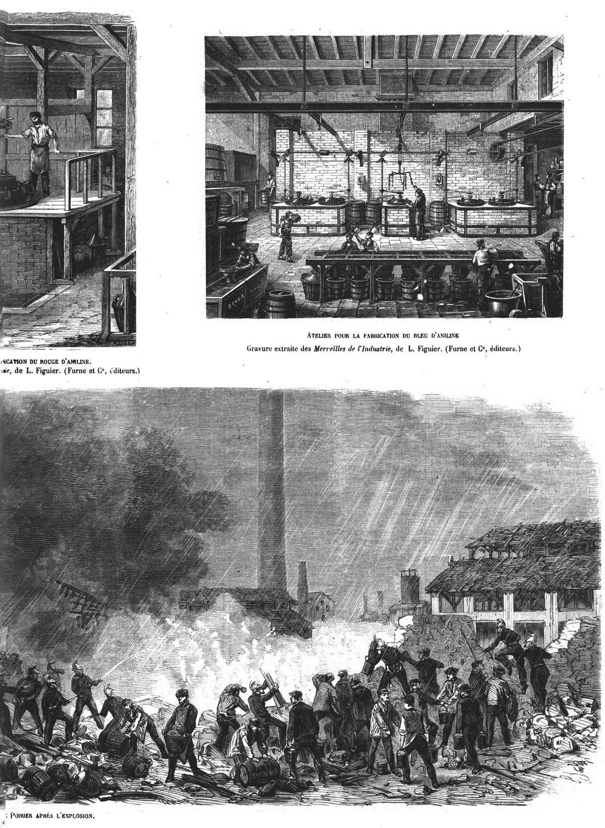 L'explosion de Saint-Denis : -Atelier pour la préparation du violet de Paris; Chaudière servant à la fabrication du rouge d'aniline; Atelier pour la fabrication du bleu d'aniline ; Aspect des ruines de l'usine Poirier après l'explosion