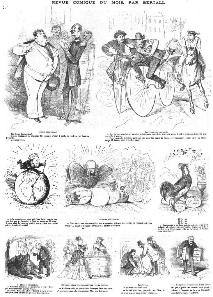 Revue comique du mois, par Bertall (9 sujets).