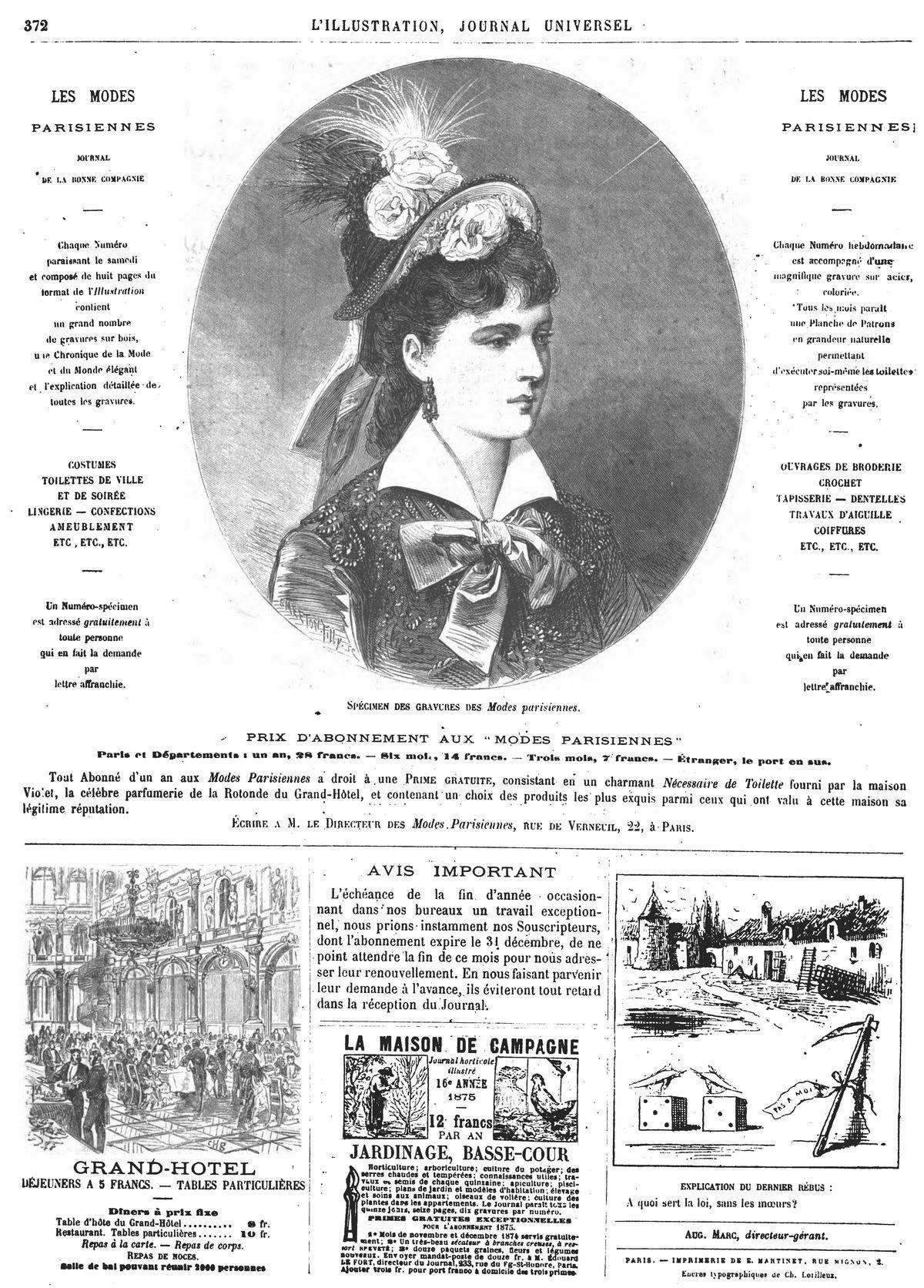 Spécimen des gravures des Modes Parisiennes.