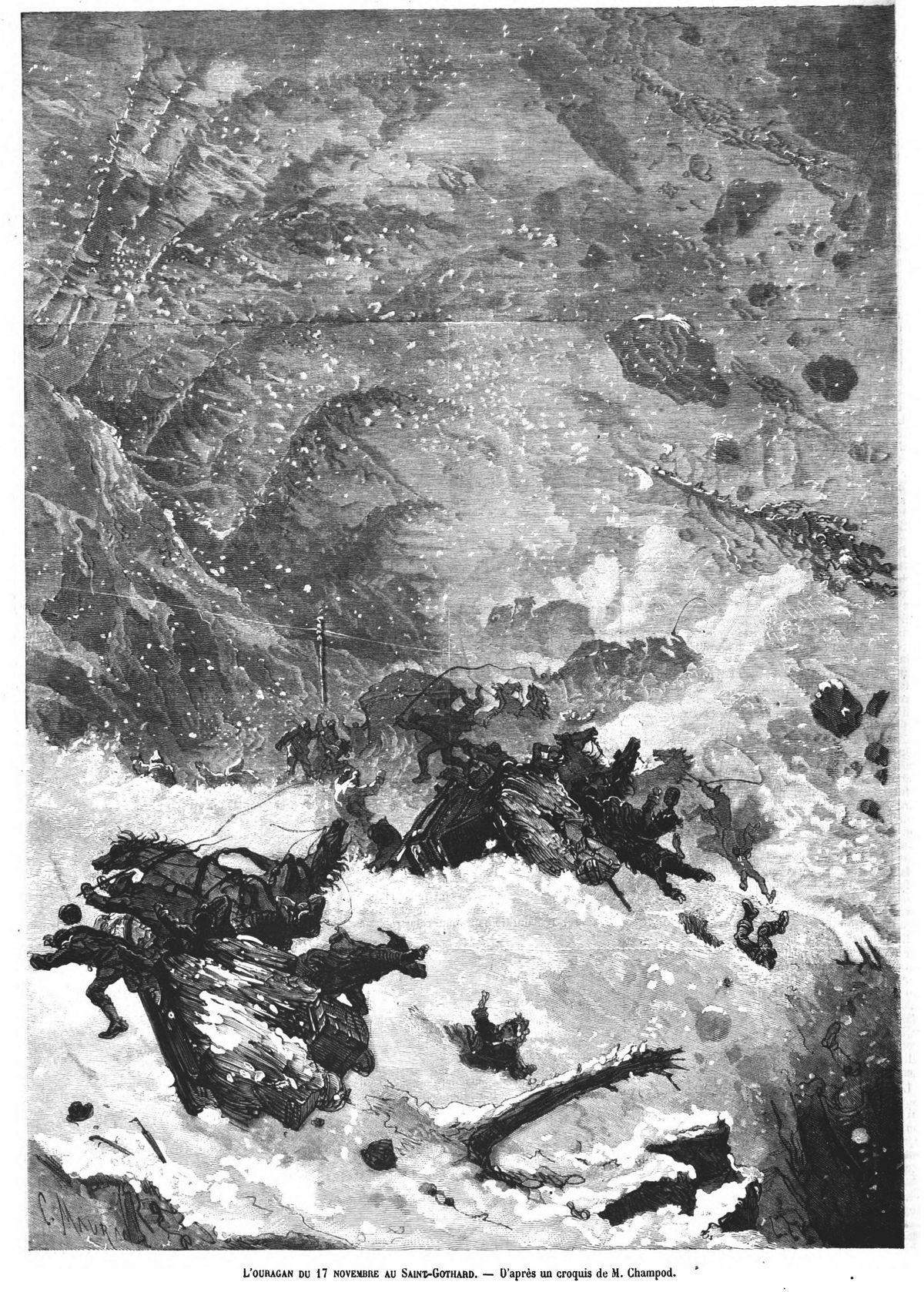 L'ouragan du 17 novembre au Saint-Gothard.