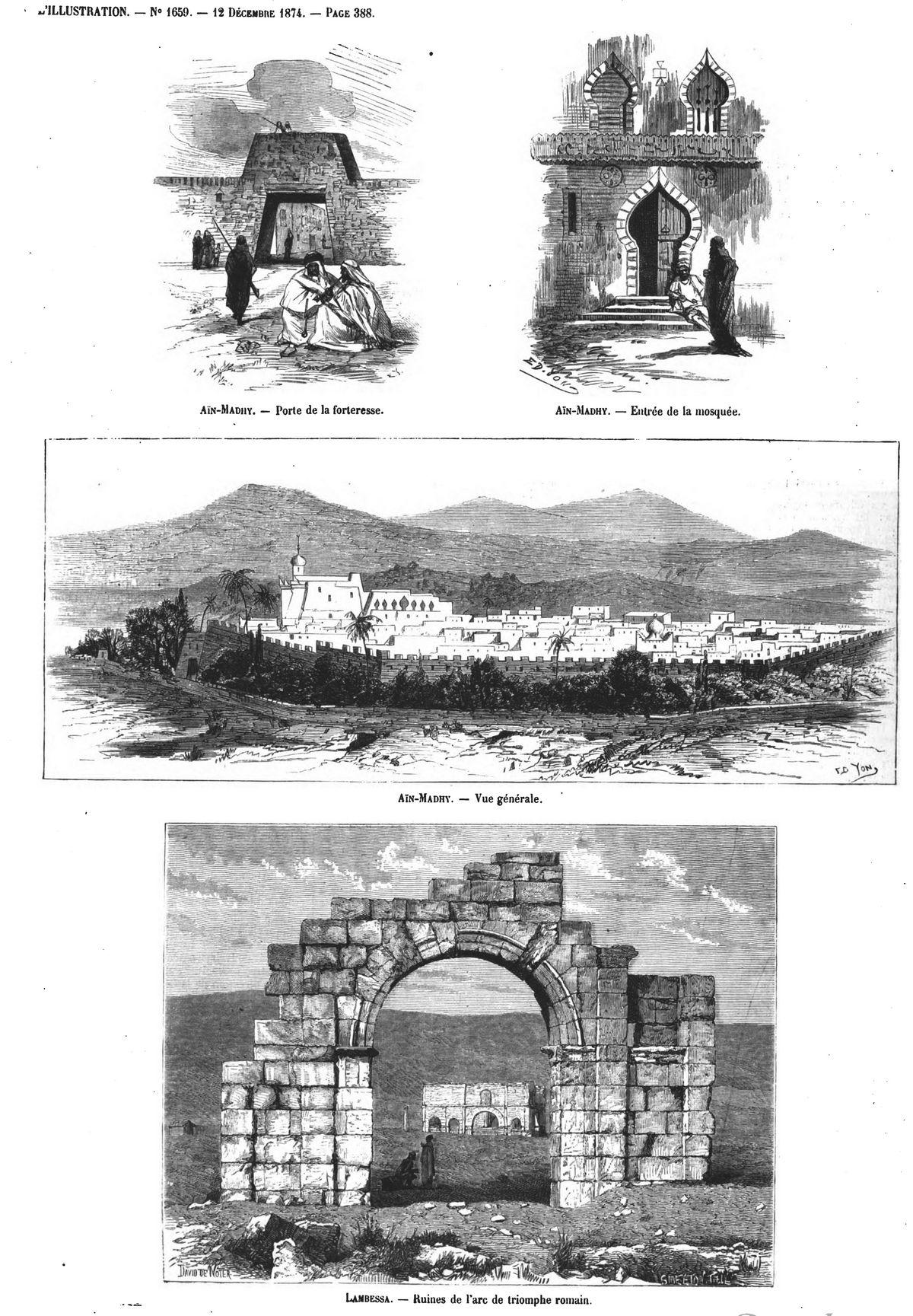 Aïn-Madhi : porte de la forteresse ; Entrée de la mosquée; Vue générale ; Lambessa : ruines de l'arc de triomphe romain.