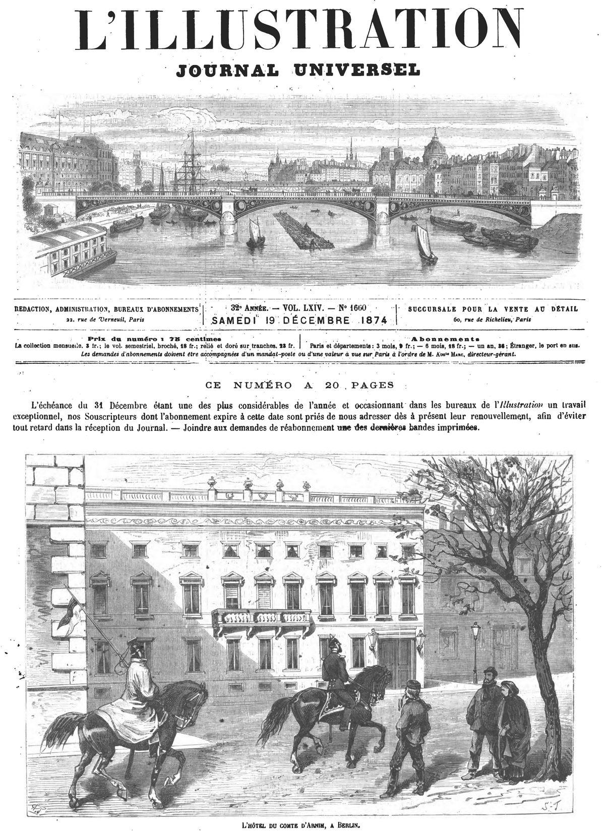 L'hôtel du comte d'Arnim, à Berlin