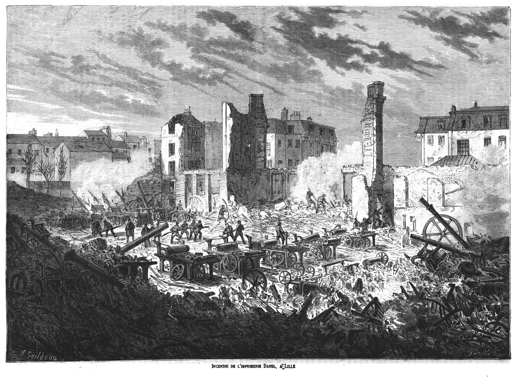Incendie de l'imprimerie L. Danel, à Lille