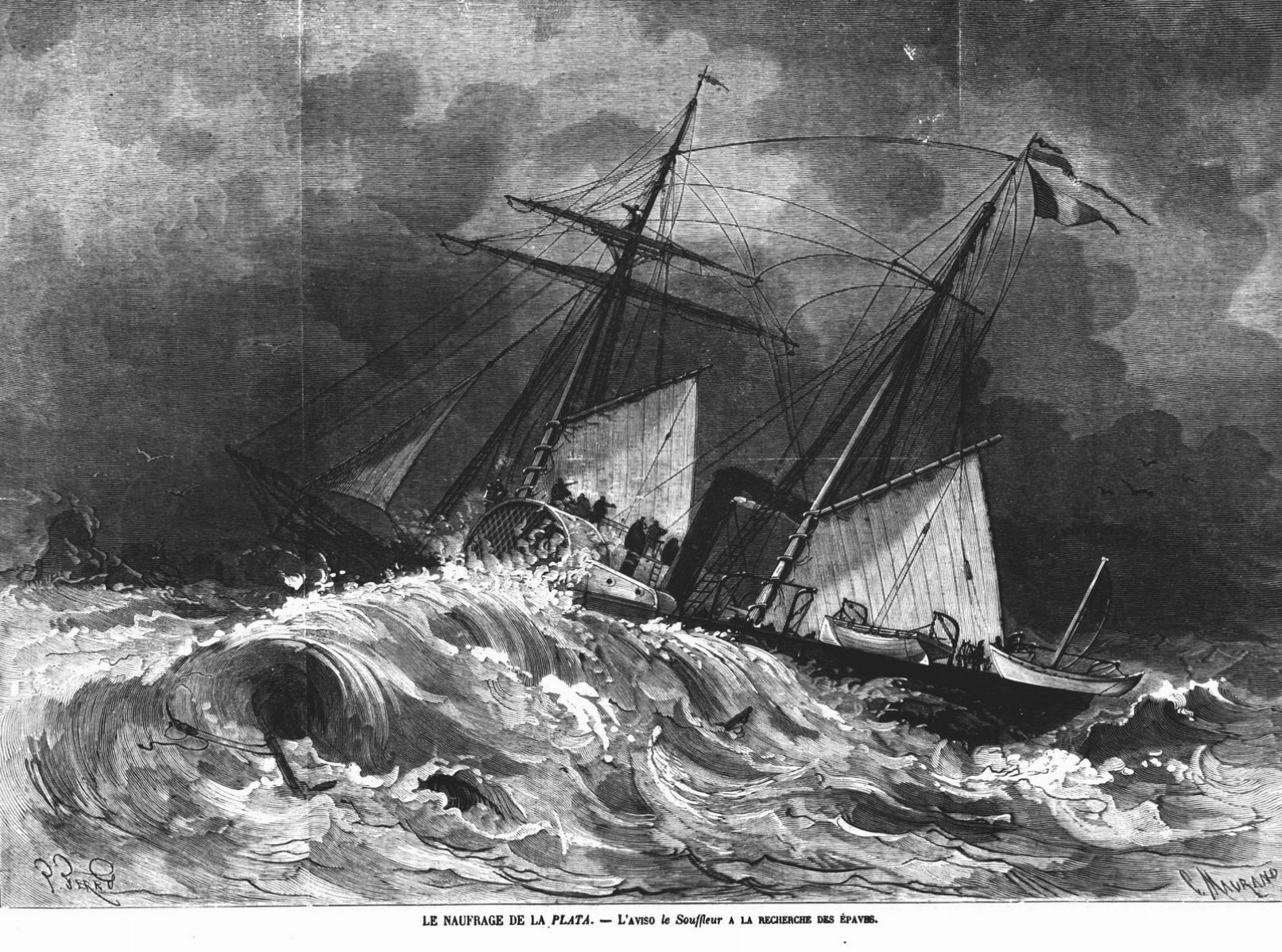 Le naufrage de la Plata : l'aviso le Souffleur à la recherche des épaves.
