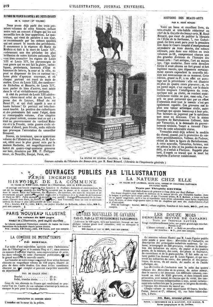 La statue du général Colleoni, à Venise (gravure extraite de l'Histoire des Beaux-Arts).