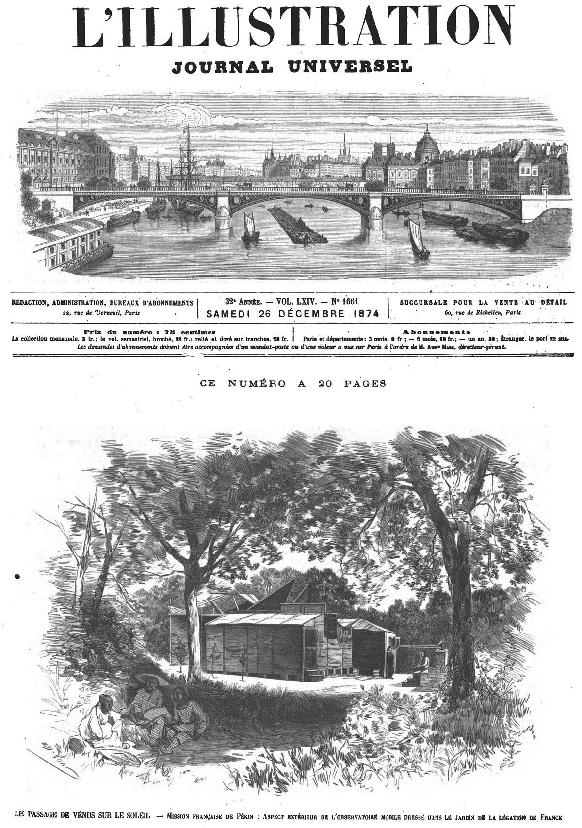 Le passage de Vénus sur le Soleil : mission française de Pékin ; aspect extérieur de l'observatoire mobile. (Gravure 1874)