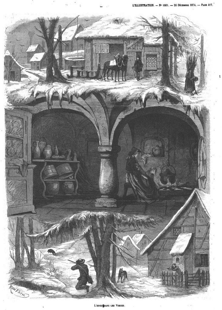 L'hiver dans les Vosges. (Gravure 1874)
