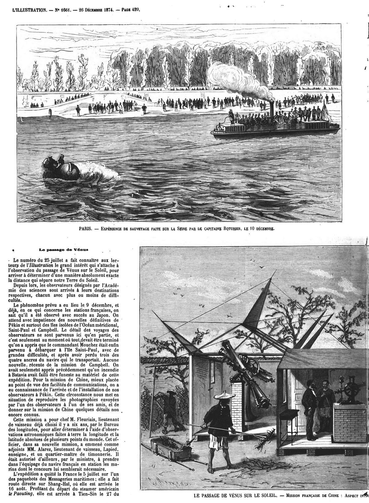Paris : expérience de sauvetage sur la Seine par le capitaine Roturier, le 10 décembre. (Gravure 1874)