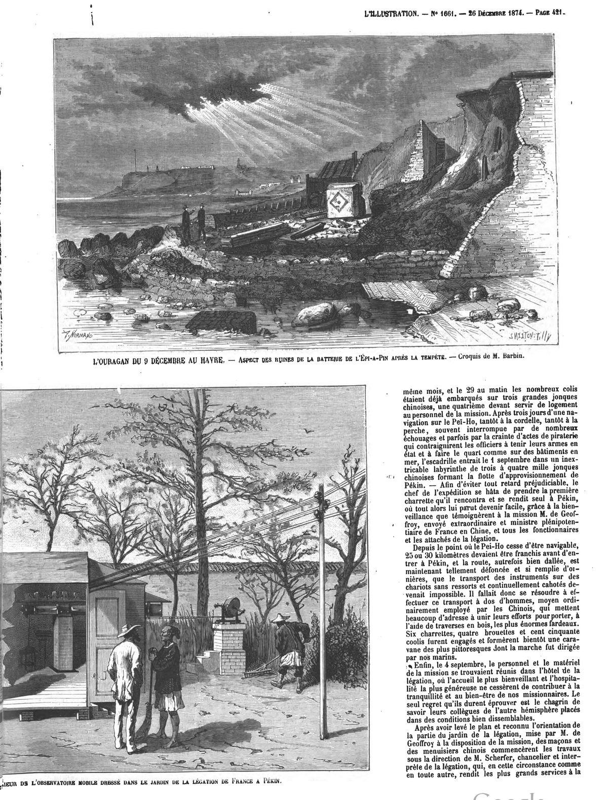 L'ouragan du !l décembre au Havre : aspect des ruines de la batterie de l'Epi-à-Pin, après la tempête. (Gravure 1874)