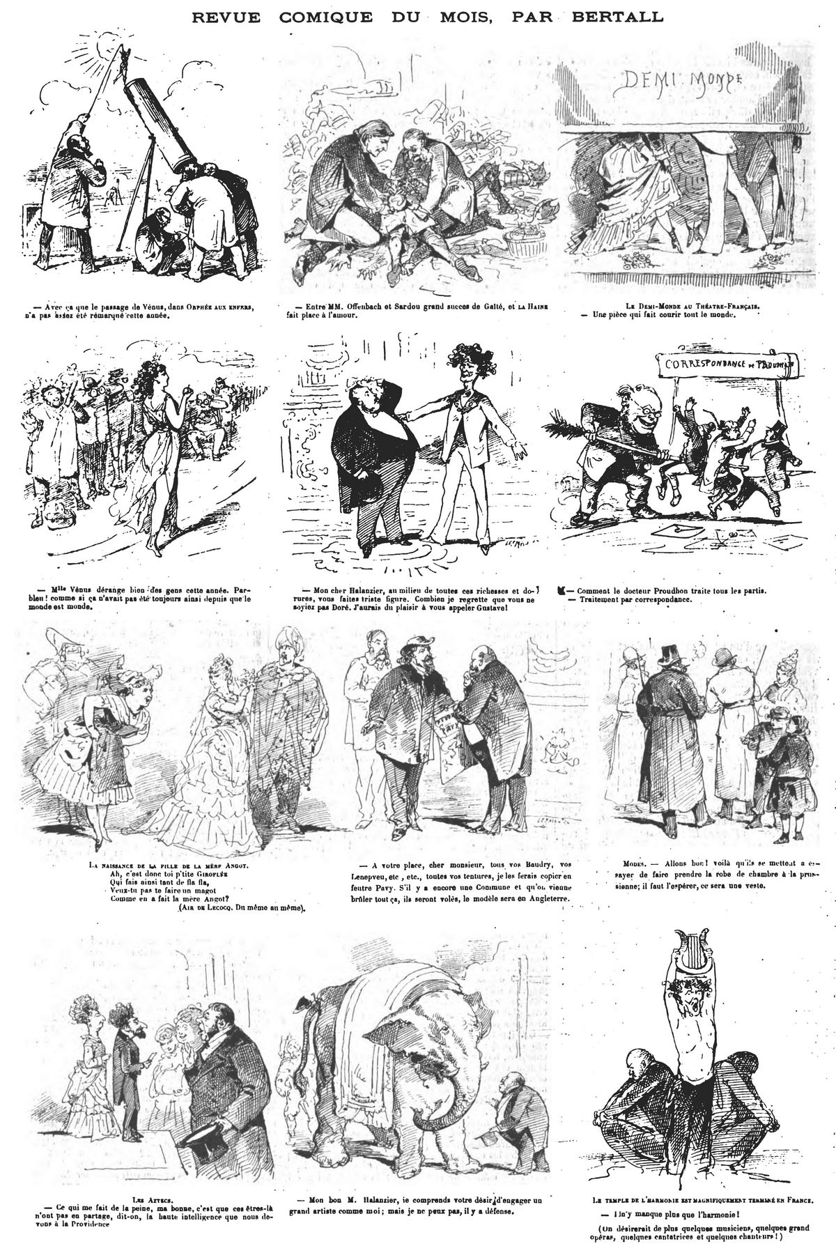 Revue comique du mois, par Bertall ( 13 sujets). (Gravure 1874)