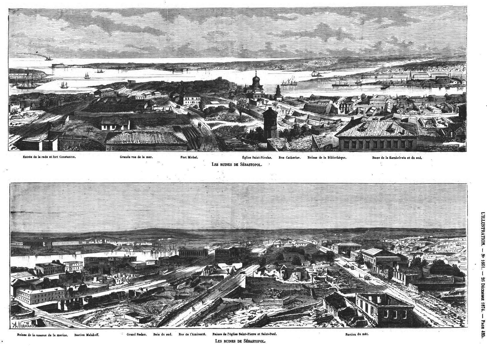Les ruines de Sébastopol : vue générale ( parties gauche et droite ) ; (Gravure 1874) — Etat actuel de la tour Malakolï. (Gravure 1874)