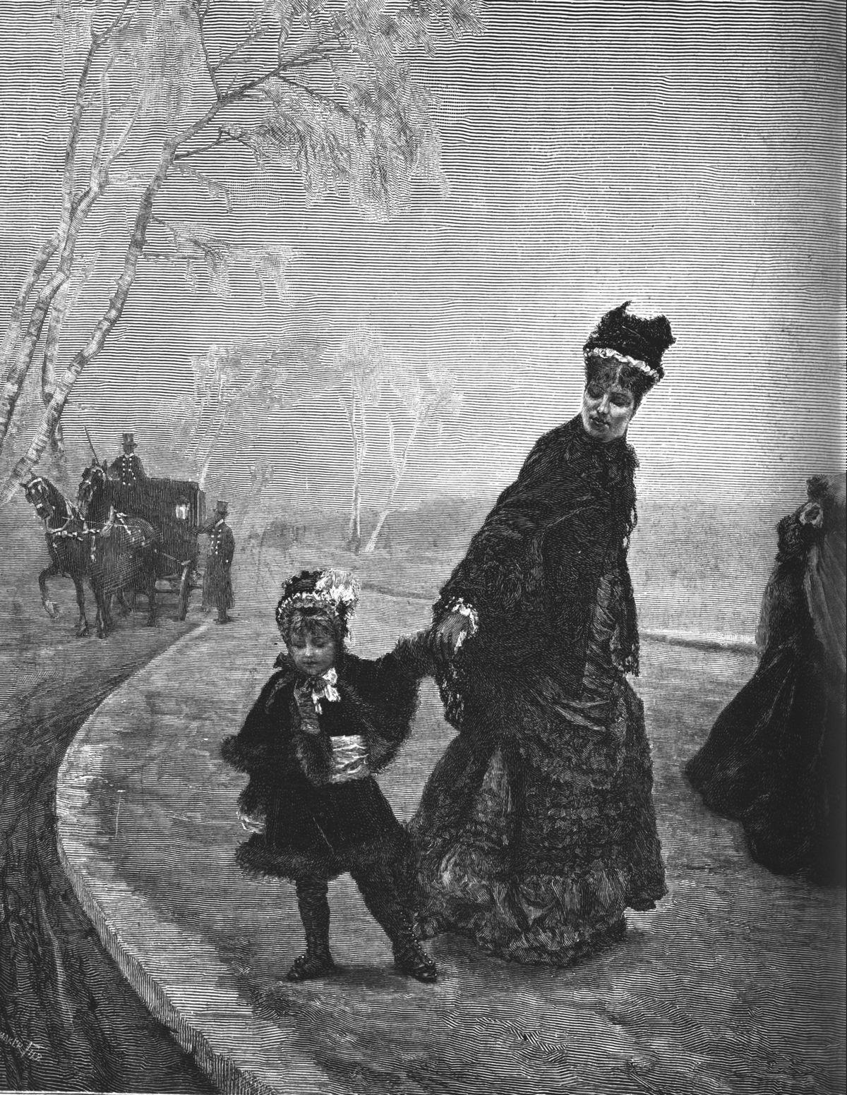 Fai-ti froid! tableau de M. de Nittis. (Gravure 1874)