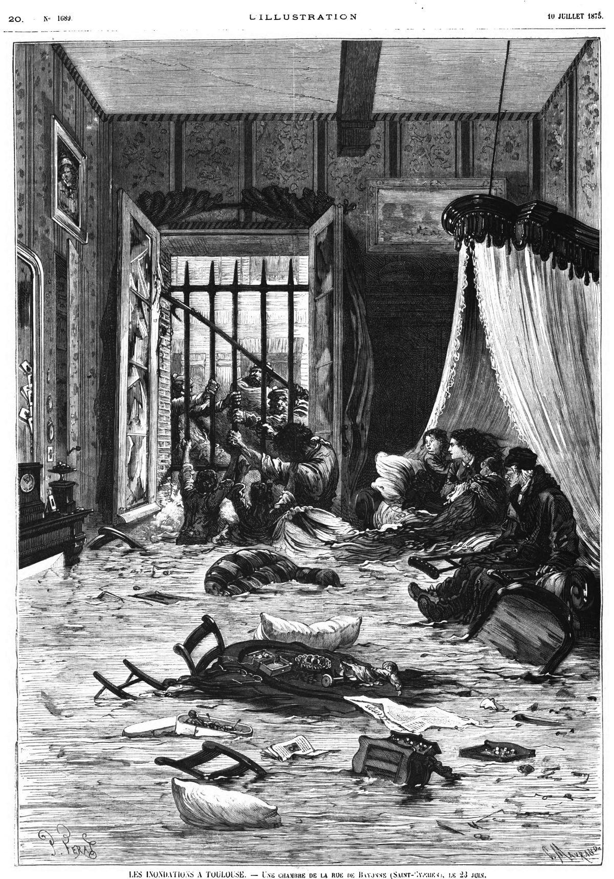 Une chambre de la rue de Bayonne (Saint-Cyprien ), le 23 juin; Gravure 1875