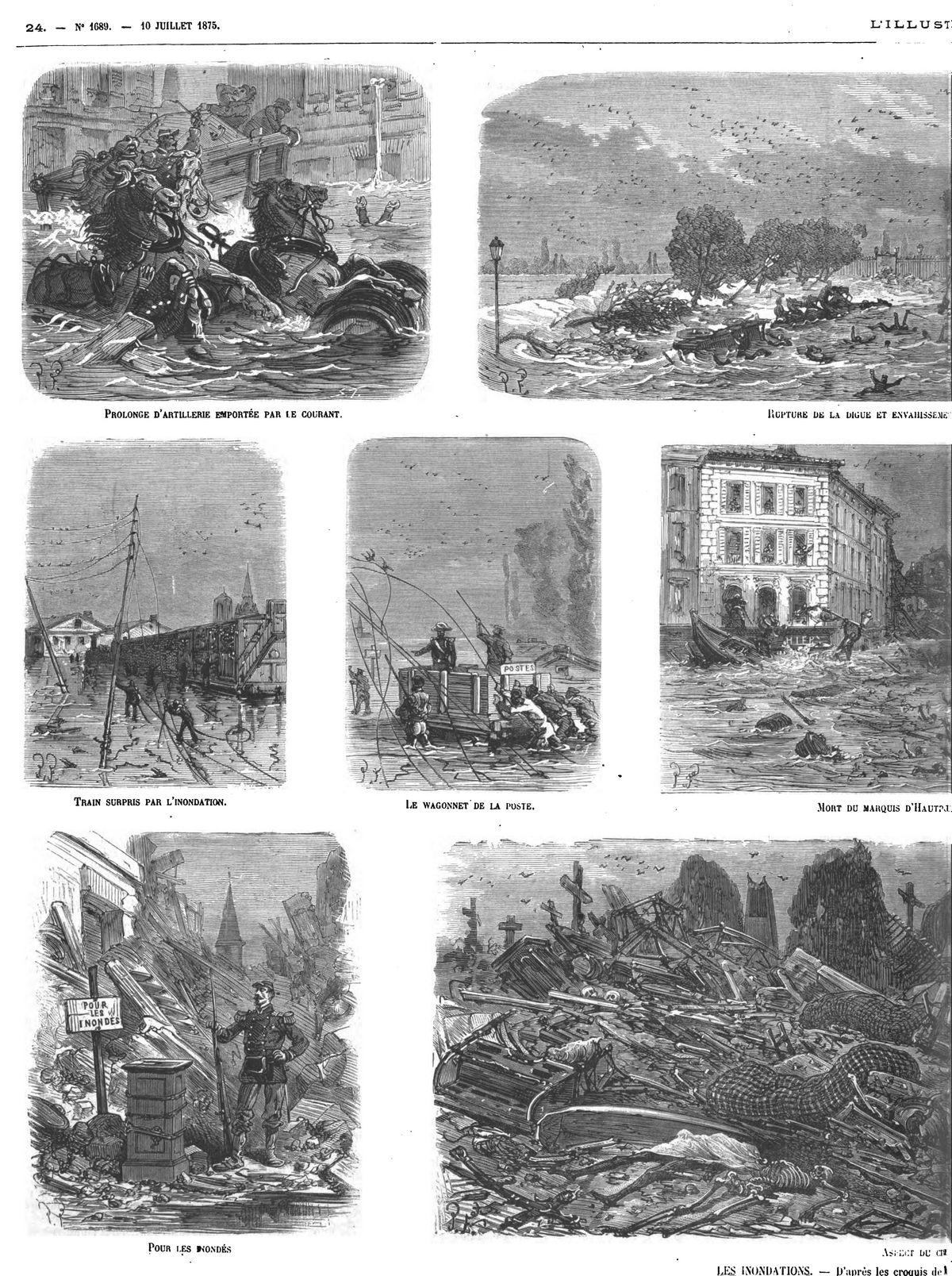 Ruines du faubourg de Saint-Cyprien après le sinistre; Gravure 1875