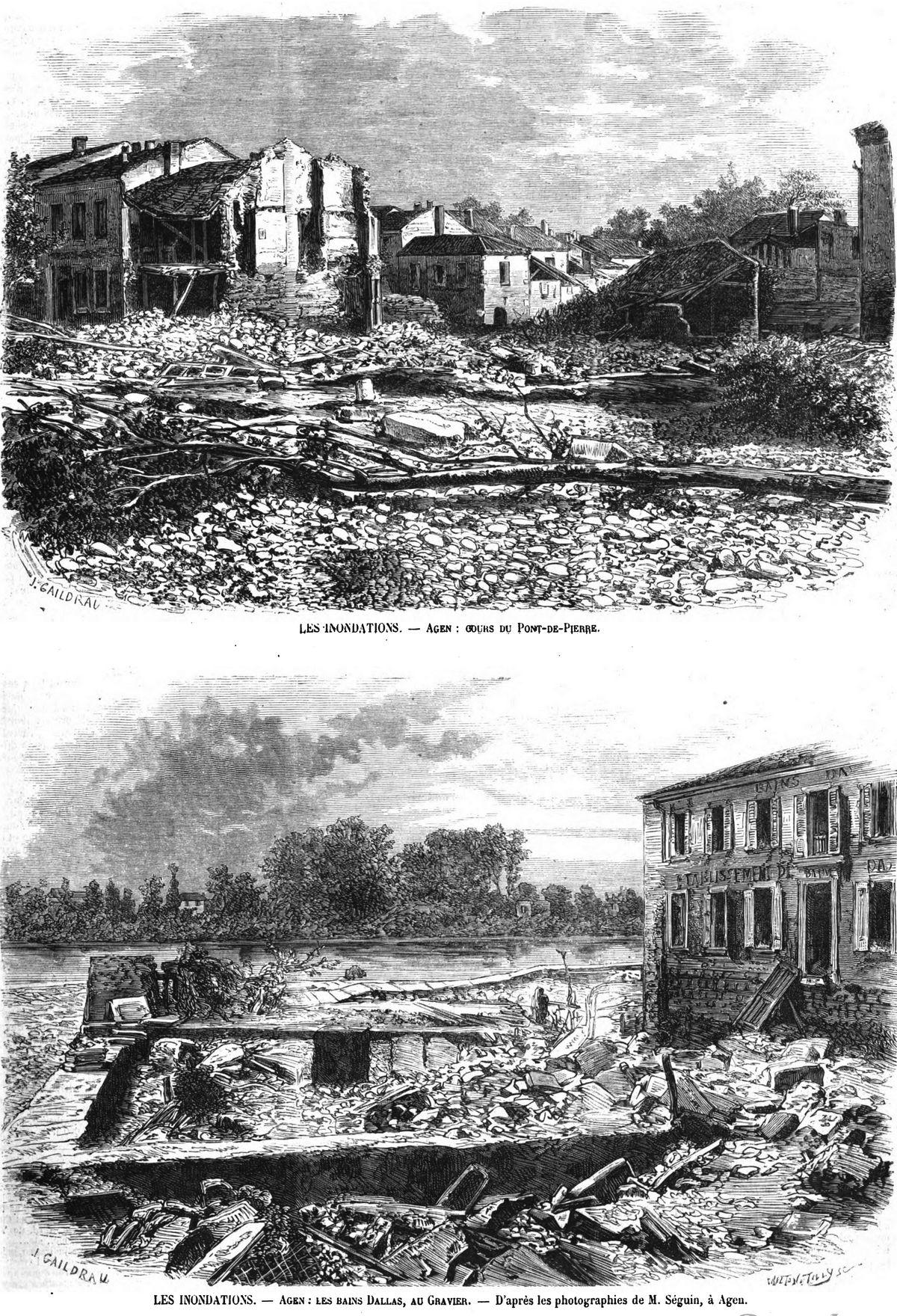Agen : cours du Pont-de-Pierre; Gravure 1875 — Les bains Dalias, au Gravier; Gravure 1875
