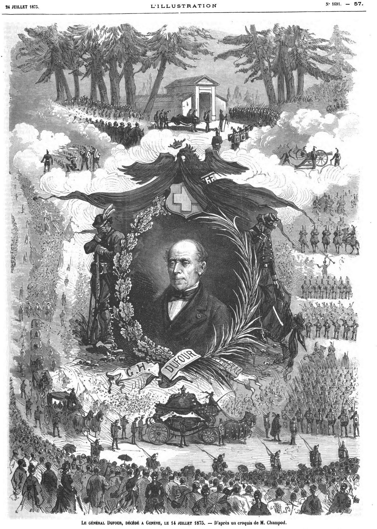 Le général Dufour, décédé à Genève, le 14 juillet 1875.