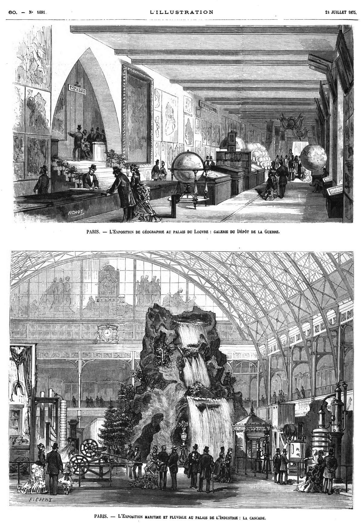 Paris : l'Exposition de géographie au palais du Louvre : galerie du Dépôt de la guerre. — Paris : l'Exposition maritime et fluviale au palais de l'Industrie : la cascade.