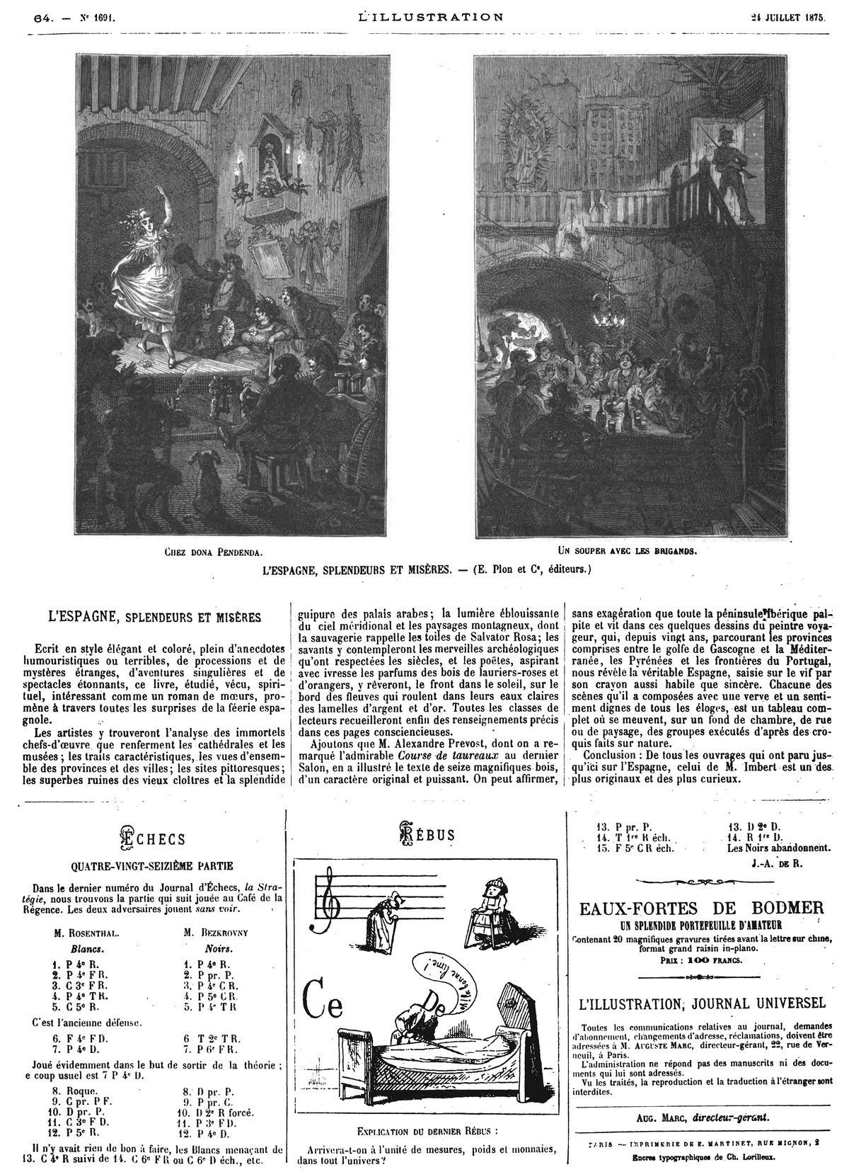 L'Espagne, splendeurs et misères (2 gravures).