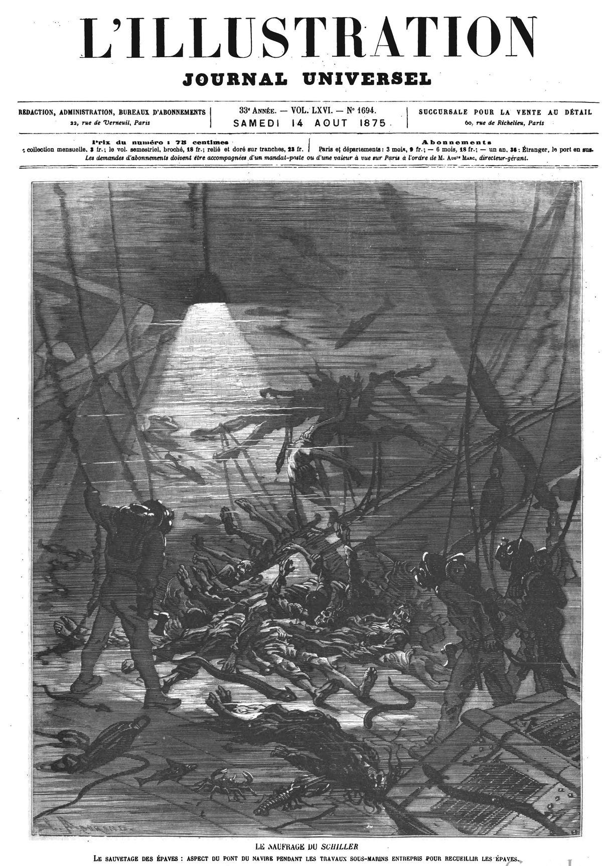 Le naufrage du Schiller : le sauvetage des épaves ; aspect du pont du navire pendant les travaux sous-marins entrepris pour recueillir les épaves.