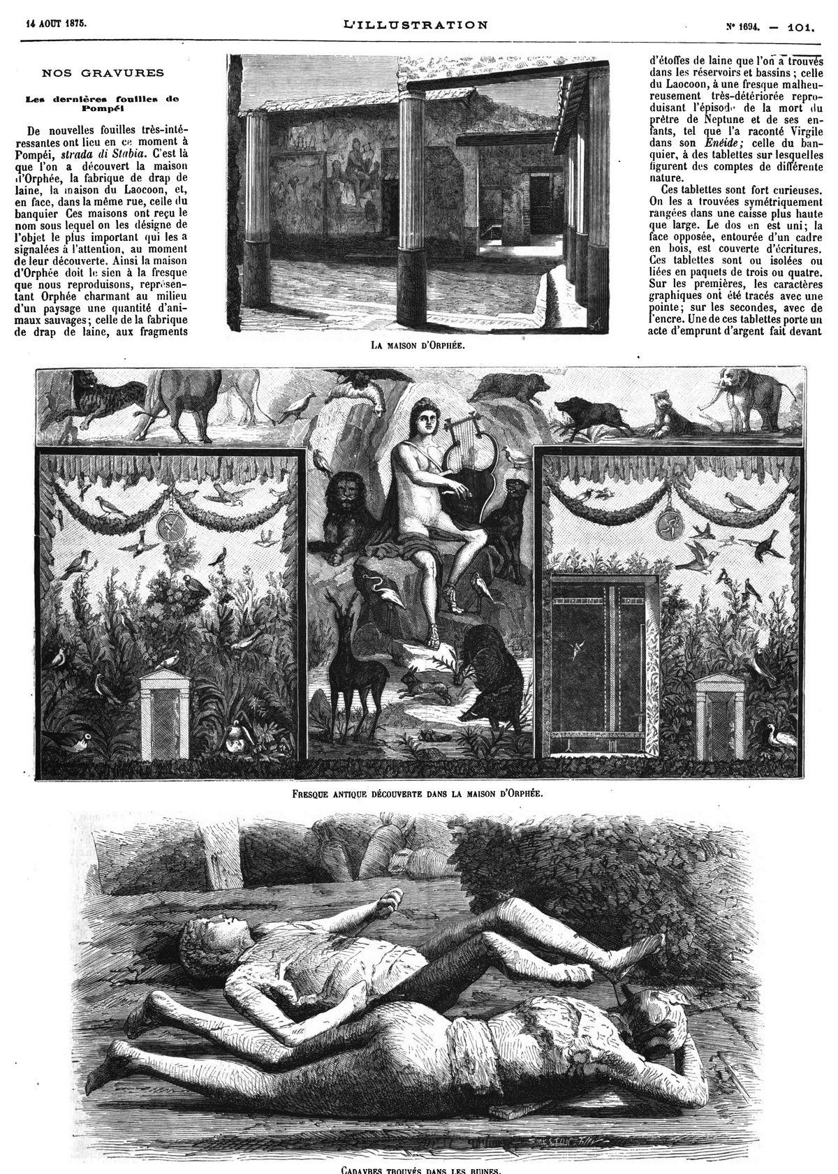 Les nouvelles découvertes faites à Pompéi (3 gravures).