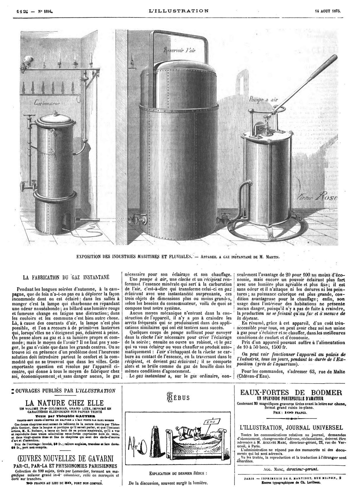 Exposition des industries maritimes et Fluviales : appareil à gaz instantané de M. Martin.