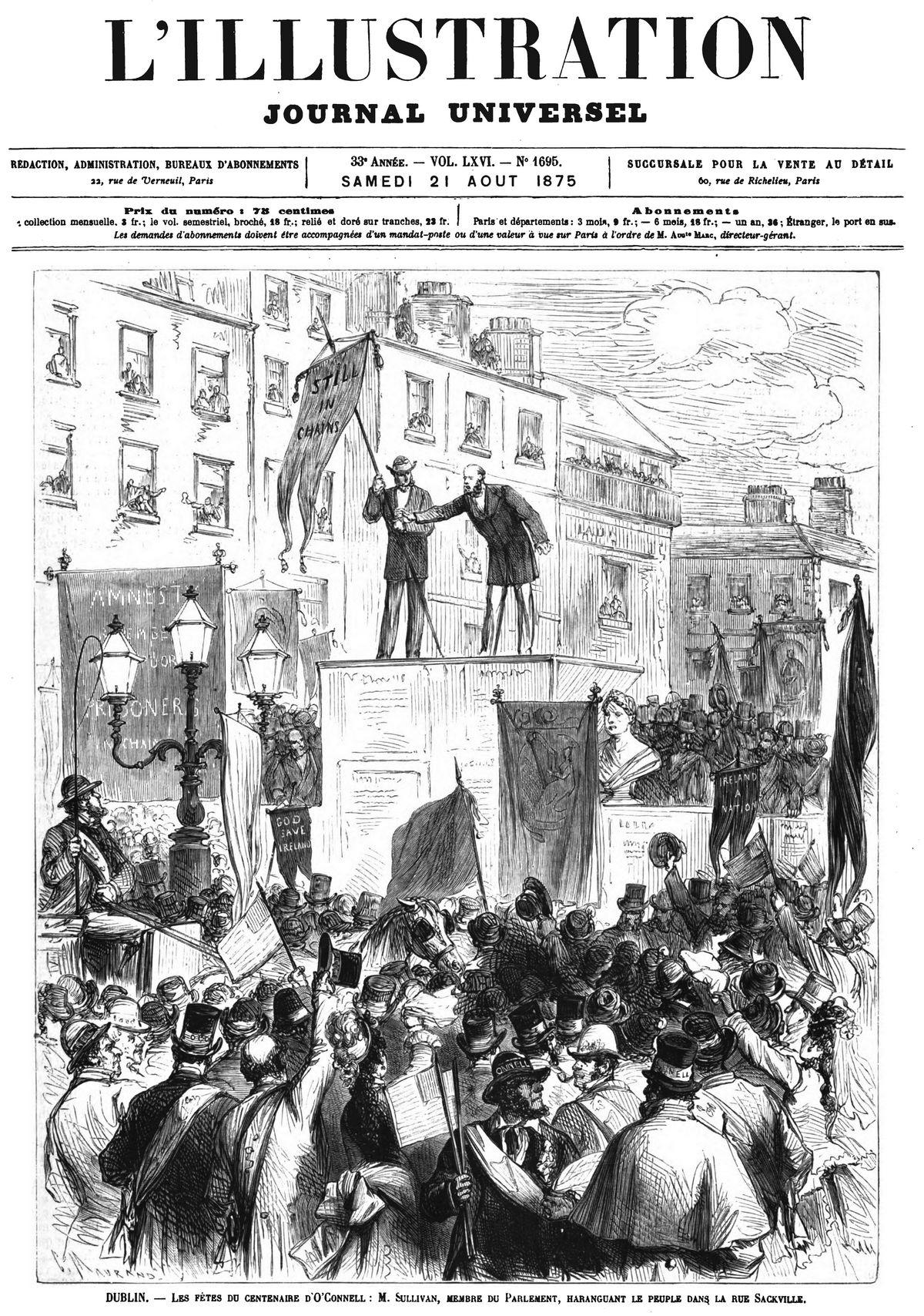Les fêtes du centenaire d'O'Connell, en Irlande.