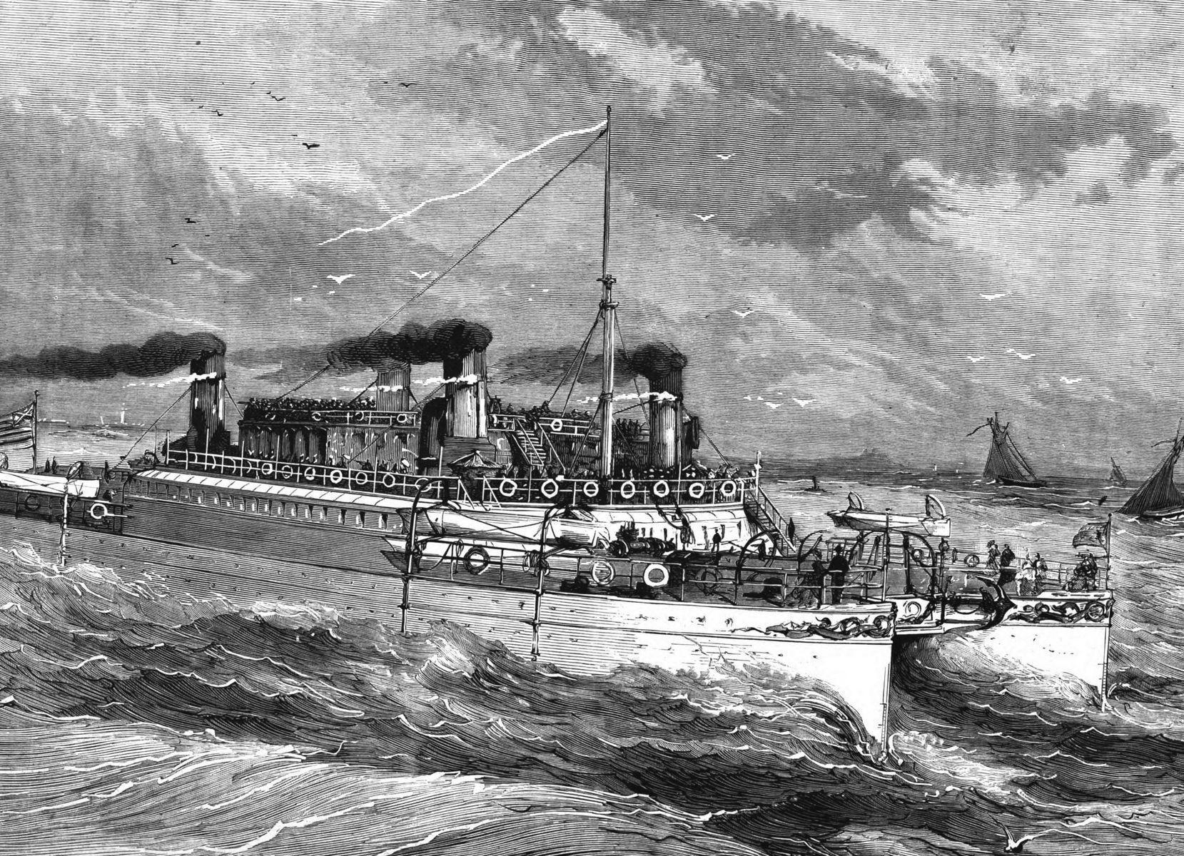 Le Castalia, nouveau navire à deux coques jumelles, pour la traversée du pas de Calais.