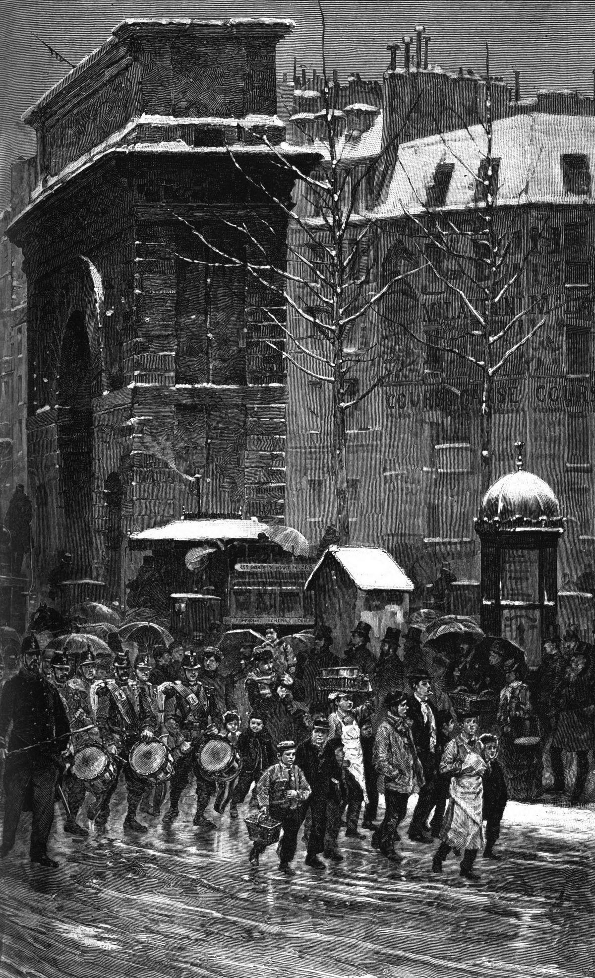 Le régiment qui passe, d'après le tableau de M. Détaillé (Salon de 1875).