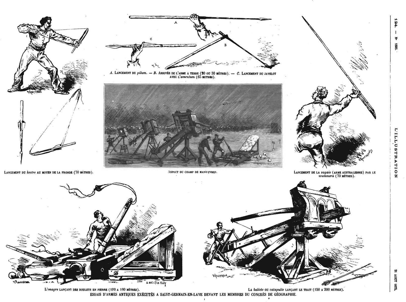 Essais d'armes antiques exécutés à Saint-Germain-en-Lave devant les membres du Congrès de géographie (6 gravures).